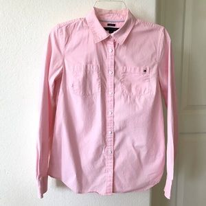 Tommy Hilfiger Pink Cotton Button Up Top Small